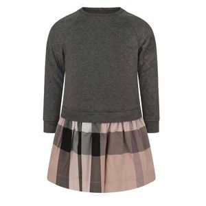 Burberry Grey Quilted & Pink Check Dress